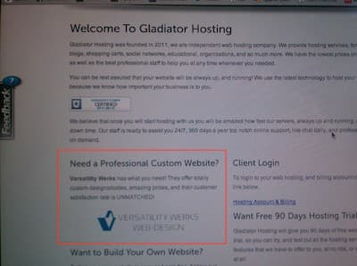 Gladiator Hosting website advertisement for Versatility Werks
