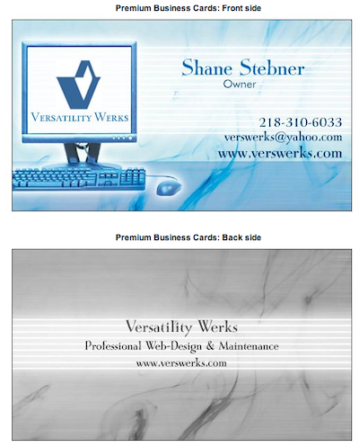 First Versatility Werks business cards